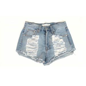 MINKPINK Shorts - Mink Pink High Waisted Distressed Denim Shorts